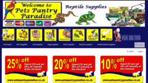 Online Webpage Websites pets pantry paradise